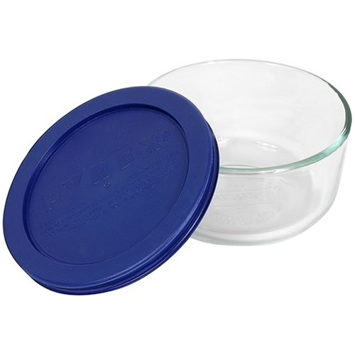 Pyrex Storage 2-Cup Round Dish, Clear with Blue Lid