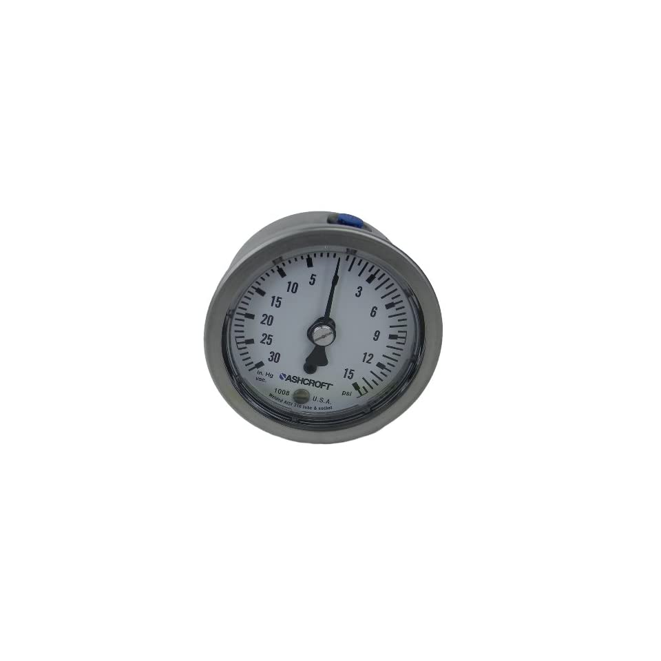 Ashcroft Type 1008 304 Stainless Steel Case Pressure Gauge, 316 Stainless Steel Bourdon Tube, 316 Stainless Steel Socket, 63mm Dial Size, 1/4 NPT Center Back Connection, 30 Hg/15 psi Pressure Range