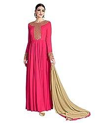 Stopnshop Fresh Designer Pink Color Embroidered party Wear Anarkali Suit