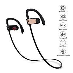 Bluetooth Headphone Aoleca Bluetooth V4.1 Wireless Sweatproof Sporting Headset On-Ear Sports Earbuds with Mic/APT-x and Noise Cancelling Function