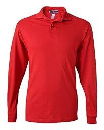 Jerzees 5.6 oz.; 50/50 Long-Sleeve Jersey Polo with SpotShield� - TRUE RED - L