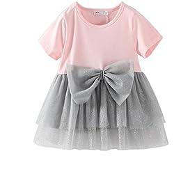 Waboats Bimba Vestito Bownot Splice Tutu Principessa Ragazze Abbigliamento 4 anni Rosa