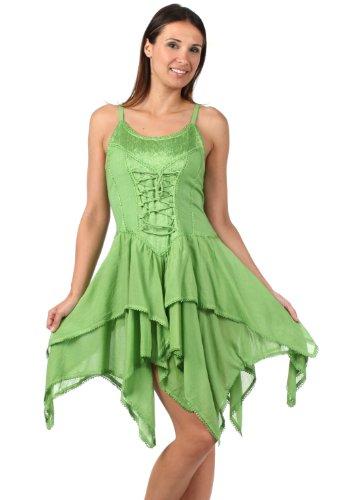 Sakkas 4431 Seraphina Corset Style Jacquard Bodice Short Dress - Spring Green - One Size front-340941