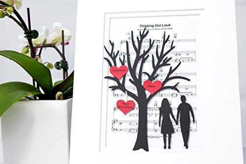 Personalized-First-Anniversary-or-Wedding-Gift-3D-Paper-Tree-Hearts-Sheet-Music-Custom-1st-Anniversary-Gift-Paper-Anniversary-Thinking-Out-Loud