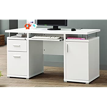 Coaster Home FurnishingsModern Contemporary 2 Drawer 1 Cabinet Office Desk with Keyboard Tray - White