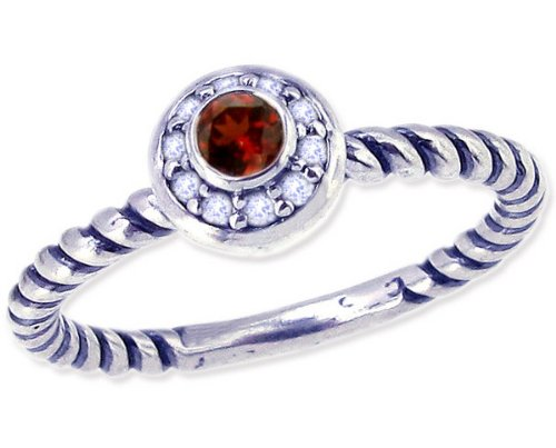 Twisted Sterling Silver Stackable Ring with Round Genuine Gem and Diamond-Garnet-in full,half,quarter sizes from 4 to 12_4.75