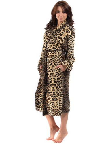 83715-Damen Animal Print 260 g/m² mit Schalkragen Bademantel.-18/20 Gold/Braun