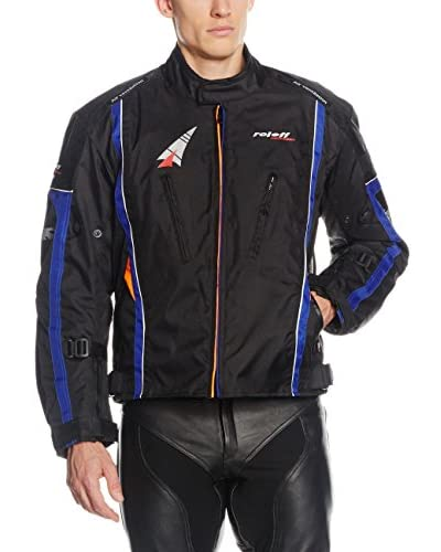 Roleff Racewear Chaqueta de Moto Motorradjacke Como Ro 15051 Negro / Naranja / Azul