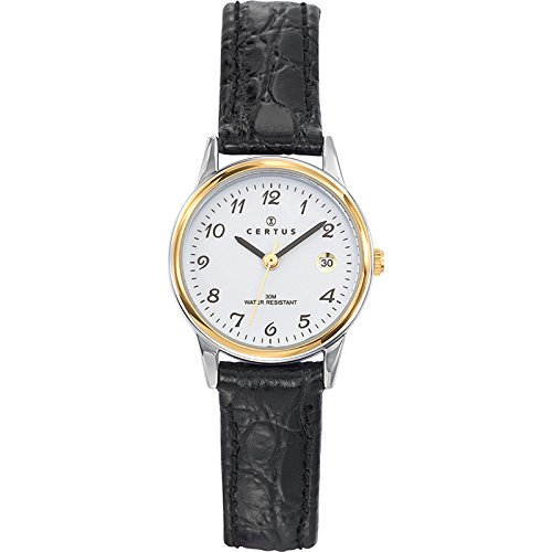 Certus 645352 - Ladies Watch - Analogue Quartz - White Dial - Black Leather Strap