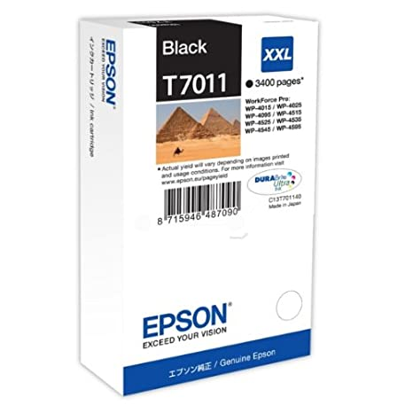 Epson C13T70114010 Cartouche d'encre noir pour Workforce Pro WP 4015 DN/4020/4515 DN/4525 DNF/4595 DNF