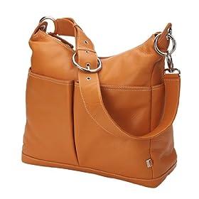 Orange Leather Hobo Diaper Bag