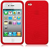 Red Gripper Rubber Silicone Skin Case Cover for Apple iPhone 4 / 4s PART OF THE QUBITS ACCESSORIES RANGEby Qubits