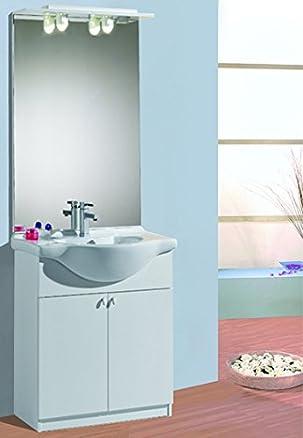 Mistermoby Mobile Bagno con Base a 2 Ante Lavabo in Ceramica e Specchiera Luci Consolle Colore Bianco da 65 Centimetri