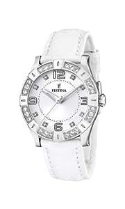 Festina - F16537/1 - Montre Femme - Quartz - Analogique - Bracelet Cuir Blanc