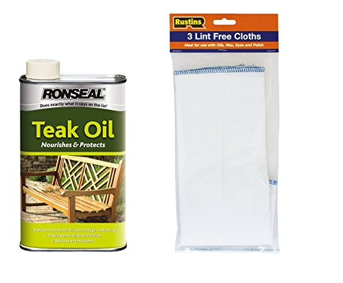 ronseal-teak-oil-clear-complete-with-rustins-lint-free-cloths-1-litre