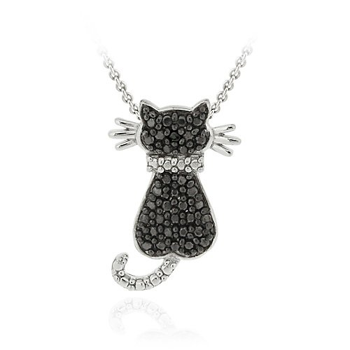 Sterling Silver Black Diamond Accent Cat Slide Pendant: Jewelry