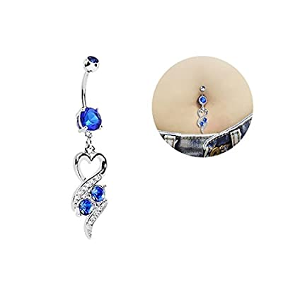 Oasis Plus Heart Blue Crystal Navel Ring Dangle Belly Button Rings Hoop Body Glitter Piercing Jewelry