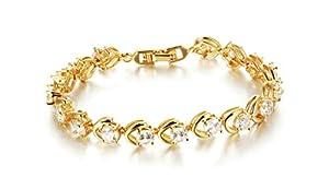 Anazoz 18K Gold-Plated Bracelets Hollow Geometry Width 17.5*0.8cm Cubic Zirconia Women's Gold