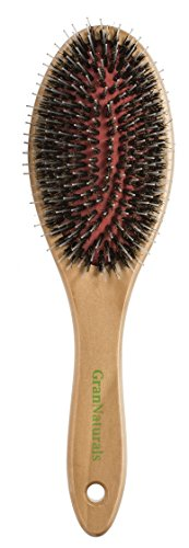 GranNaturals Boar + Nylon Bristle Oval Hair Brush with a Wooden Handle (Small Hair Brush With Bristles compare prices)