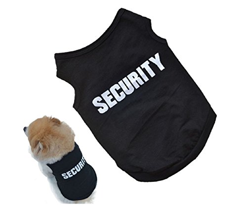 2016 Newly Design SECURITY Black Dog Vest Summer Pets Dogs Cotton Clothes Shirts Apparel Ropa para perros (Daisy Duke Costume For Adults)