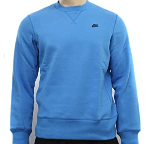 New Nike Mens Blue Fleece Crew Sweatshirt Sweatshirt Size XL