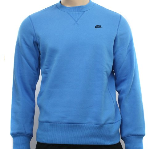 New Nike Mens Blue Fleece Crew Sweatshirt Sweatshirt Size S
