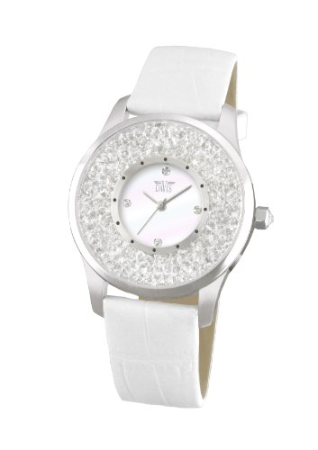 Davis Fashion Ladies White Elegant Watch with Swarovski crystal