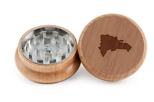 Dominican Republic Herb and Weed Grinder - 2 Piece Wood Grinder with Laser Etched Designs - Made with Oak (2 Inches) (Dominican Pots compare prices)
