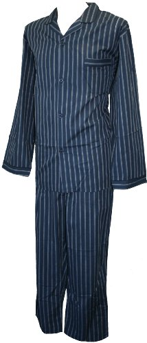 Espionage Navy Traditional Striped Cotton Mix Long Pyjamas