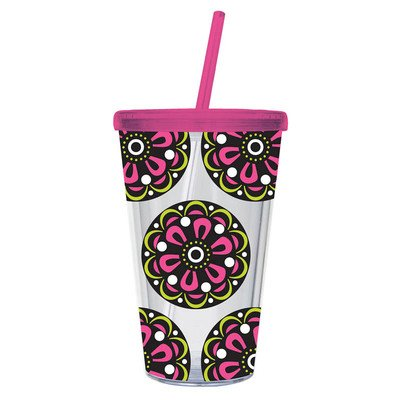 Cypress Insulated Cup W/Straw 17Oz, Pink Medallion front-134944