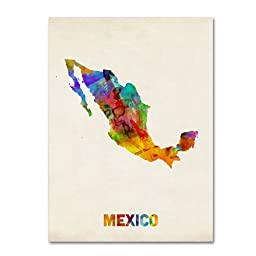 Trademark Fine Art Mexico Watercolor Map Artwork by Michael Tompsett, 18 by 24-Inch