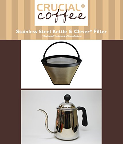 Premium Washable & Reusable Cone Coffee Filter, Fits Clever Coffee Drippers & Durable Pour Over Gooseneck Kettle, by Think Crucial