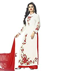 Charming White and Red Coloured Embroidered Semi-Stitched Georgette Salwar Suit With Dupatta