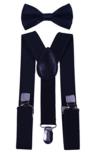 BODY STRENTH Kids Boys Girls Suspenders Strong Clips With Bow tie Set Black