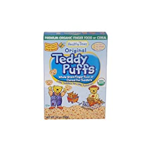 Healthy Times Organic Teddy Puffs for Toddlers, Original, 5.5-Ounce Boxes (Pack of 12)