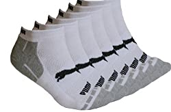 Puma Men's Low Cut White 6 Pair Socks,Cotton Cushioned, Shoe Size: 6-12.5