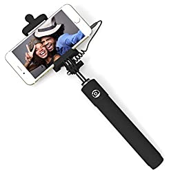 Selfie Stick, PerfectDay Self-portrait Monopod Extendable Selfie Stick with Built in Remote Shutter, Adjustable Phone Holder for iPhone 6s/ 6/ 6 Plus, iPhone 5 5s 5c, Android, Wired, Black