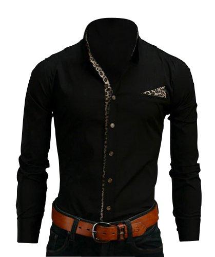 Keral Men's Clothing Leopard Print Men Slim Long-sleeve Casual Shirts Black XXL
