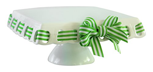 Prissy Plates Square Cake Plate, Large, White (Cake Stand With Ribbon compare prices)