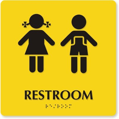 """Restroom (Boys / Girls Pictograms) (Yellow) Sign, 9"""" X 9"""" front-98448"""