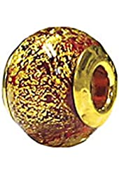 Zable Sterling Silver Yellow Color Plated Yellow and Red Flames Glass Bead