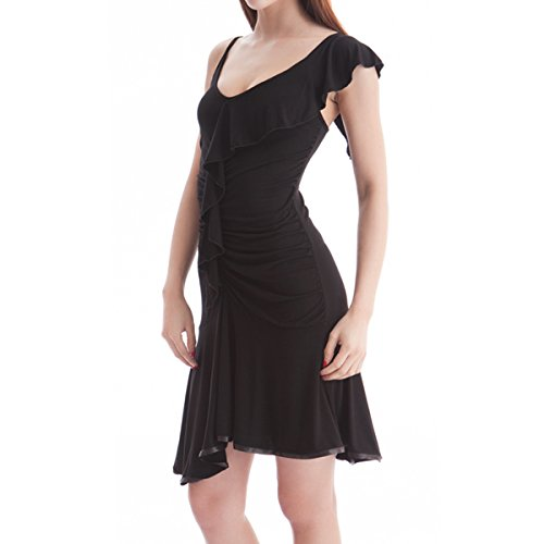 Cloris Murphy Ruffle Cocktail Party Latin Salsa Tango Dance Dress LTD02 Black M
