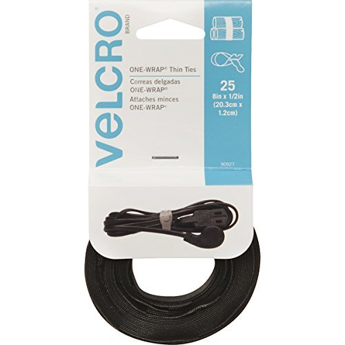 VELCRO Brand - ONE-WRAP Thin Ties: Reusable, Light Duty - 8 x 1/2 Ties, 25 Ct. - Black Style: 25 Count - 8 Ties, Model: 90927, Home & Tools