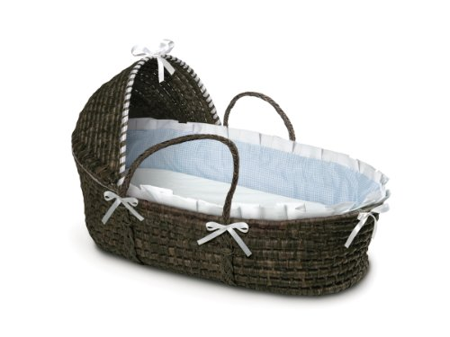 Learn More About Badger Basket Moses Basket Gingham with Hood and Bedding, Espresso/Blue