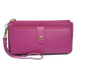 Y-BOA Sac Pochette de Main Porte-monnaie femmes Portefeuille en pu cuir sac a main Choisissez une variété de couleurs(21×11CM) (rose)