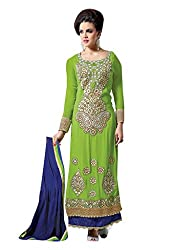 The Ethinc Chic Green Color Georgette Straight Cut Suit.