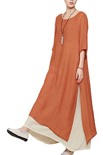 Mordenmiss Women's Summer Two Layers Maxi Dresses L Short Sleeve Orange