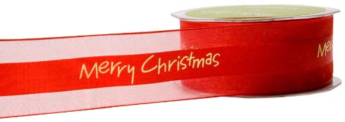 May Arts 1-1/2-Inch Wide Ribbon, Red Merry Christmas Print