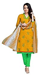 Craftliva Yellow Embroidery Cotton Jacquard Dress Material