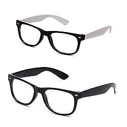 Unisex Combo Black-FR-White-FR Clear Wayfarer Spectacle Frames (CM-NEWAY-007) (CM-Black-FR-White-FR)